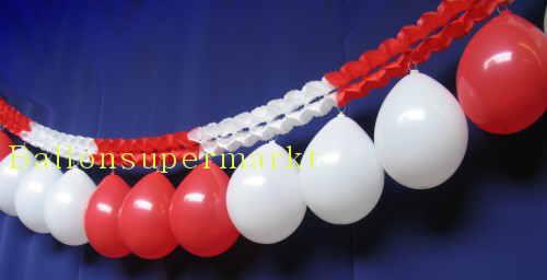 Luftballons  rot-weiss Girlande Rot-Weiss